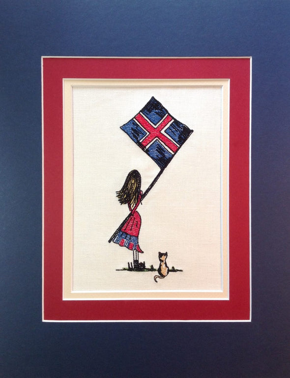 Icelandic Flag Girl - Embroidery Design