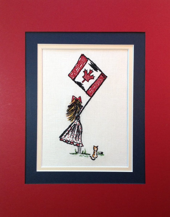 Canadian Flag Girl - Embroidery Design