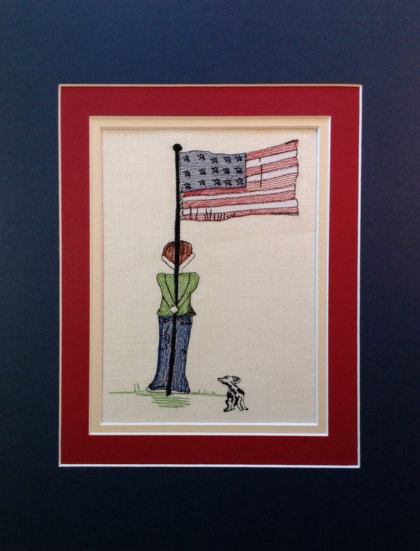 USA Flag Boy and Dog - Embroidery Design
