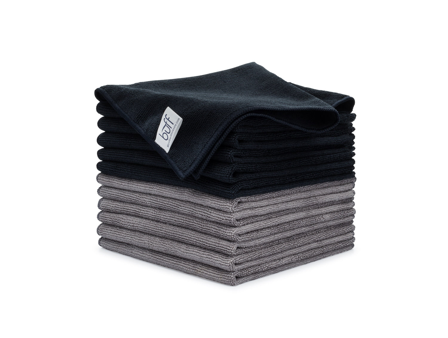 Black Gray Microfiber Towels 12 Pack