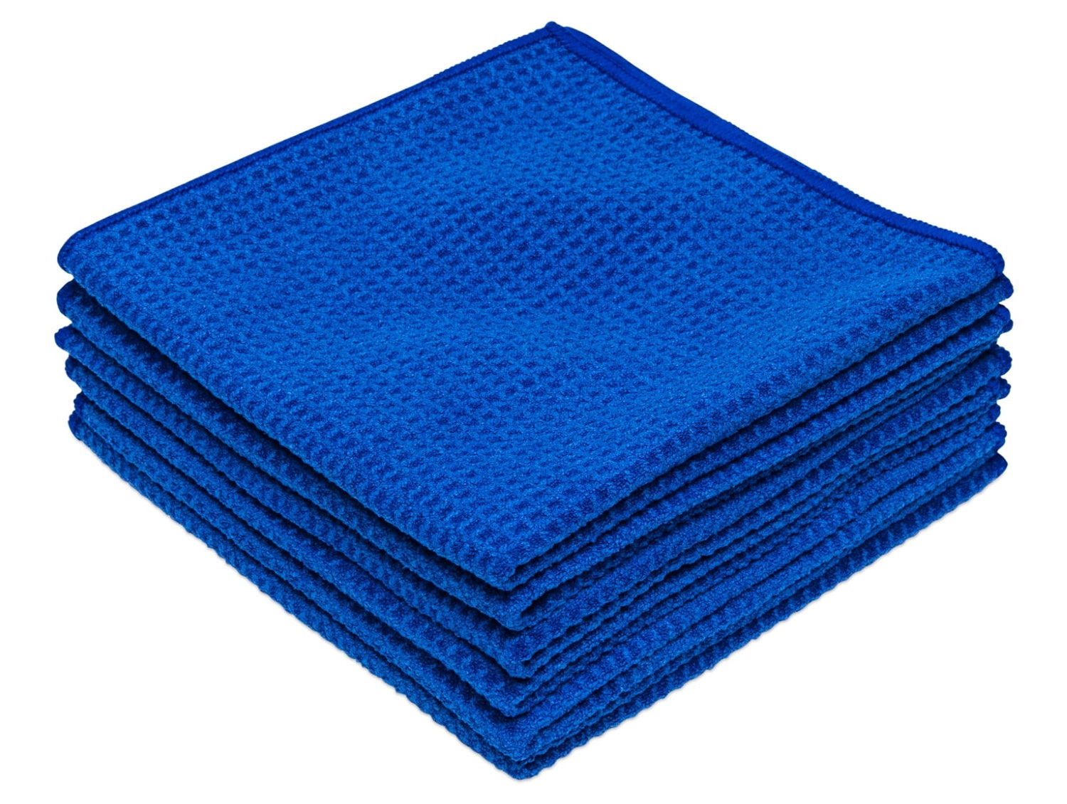 Blue Microfiber Waffle Weave Kitchen Towels