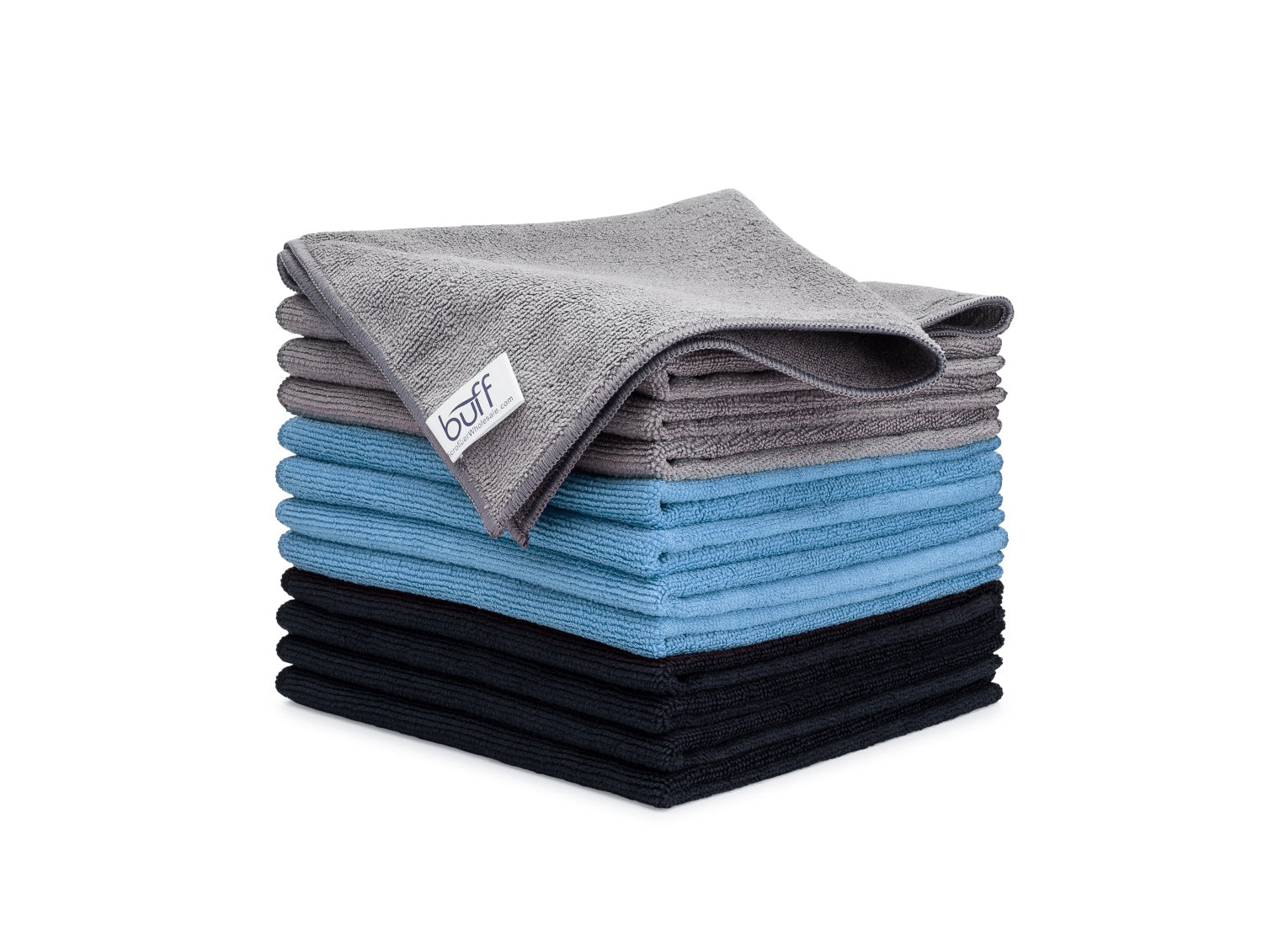 Gray Blue Black Microfiber Towels 12 Pack