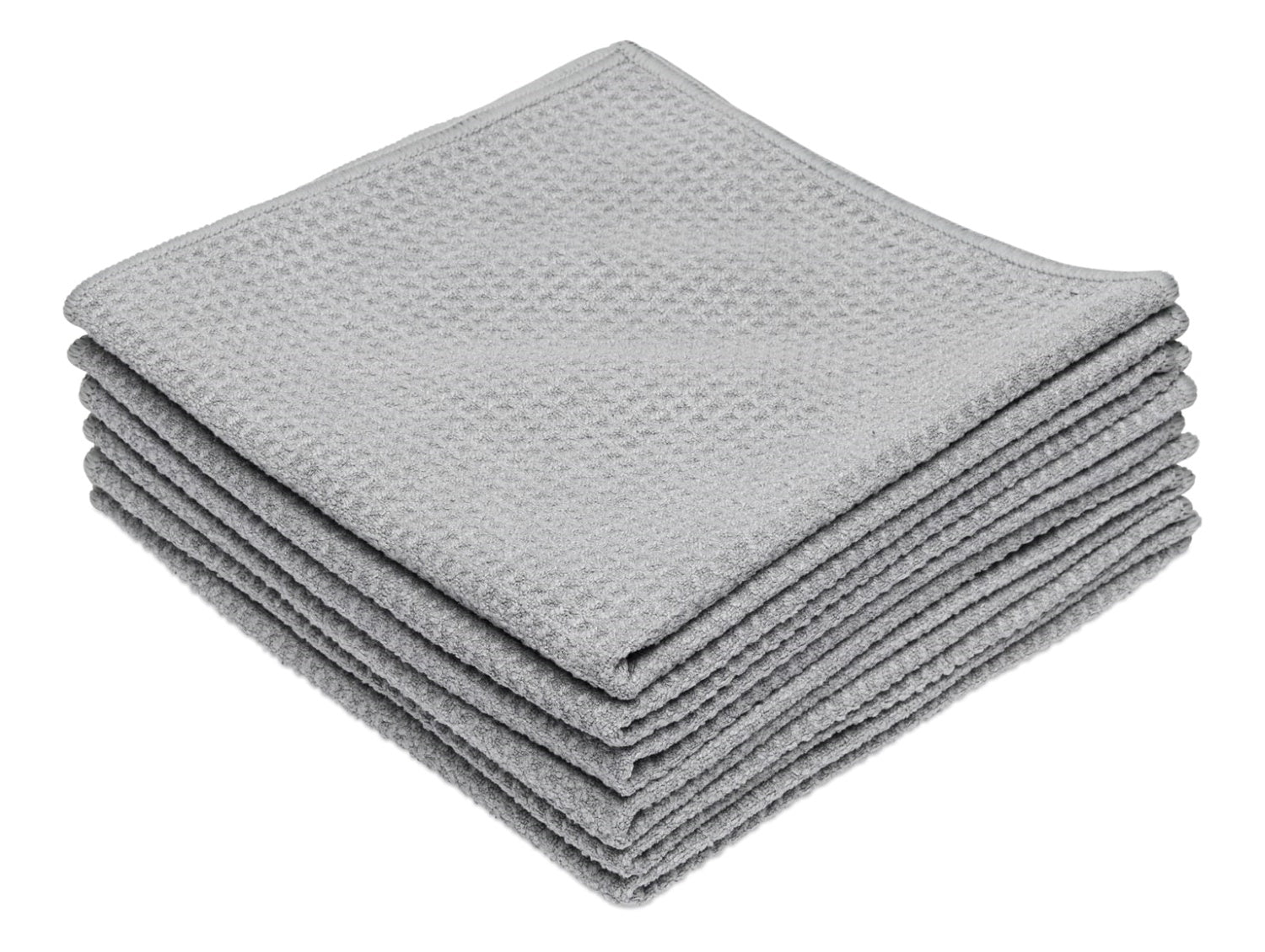 Gray Microfiber Waffle Weave Kitchen Towels