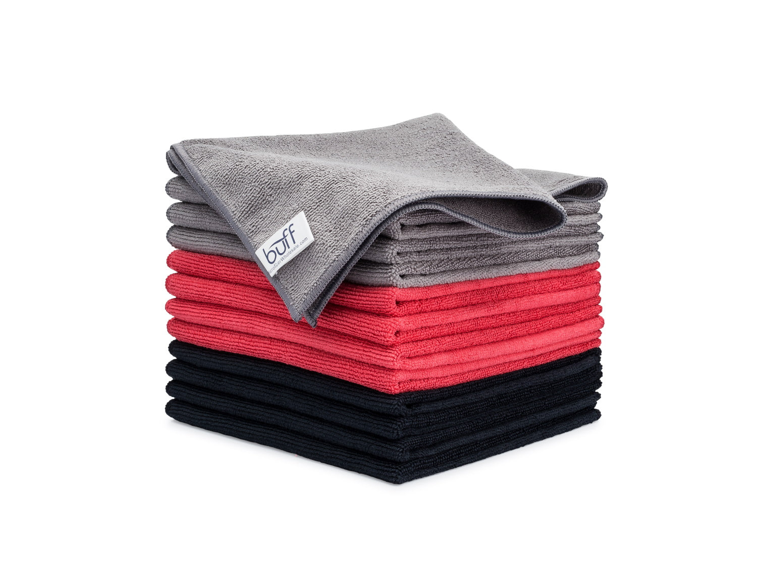 Gray Red Black Microfiber Towels 12 Pack