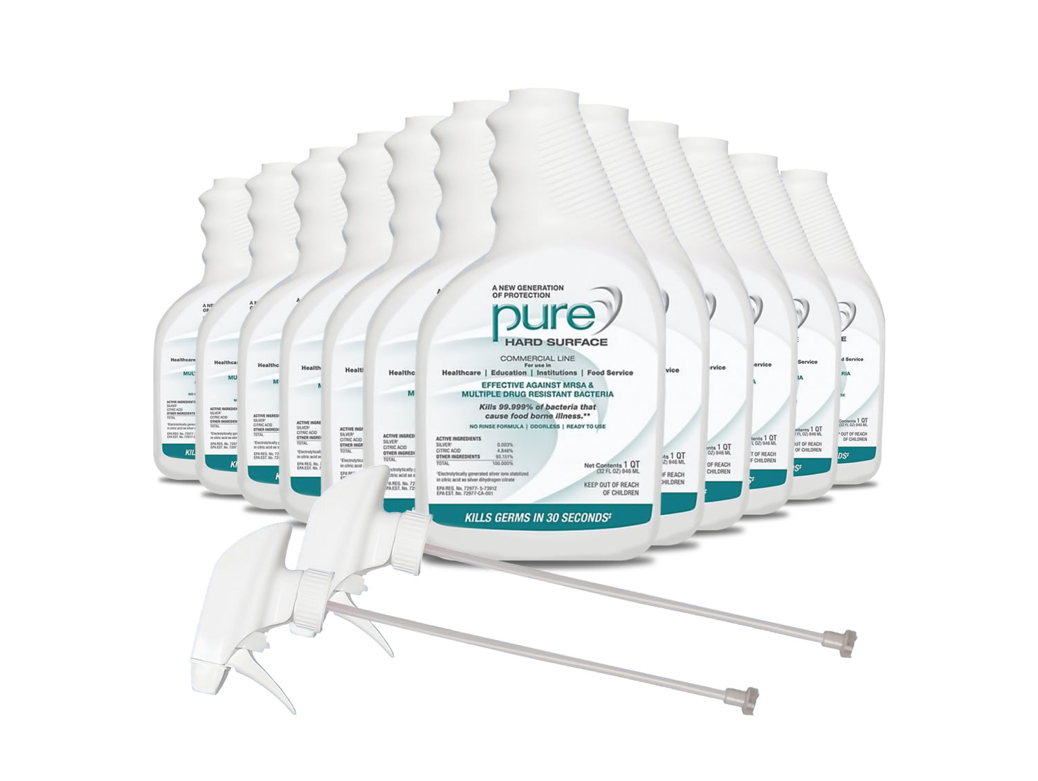 PURE® Hard Surface Disinfectant - Case Of 12 with 2 Sprayers
