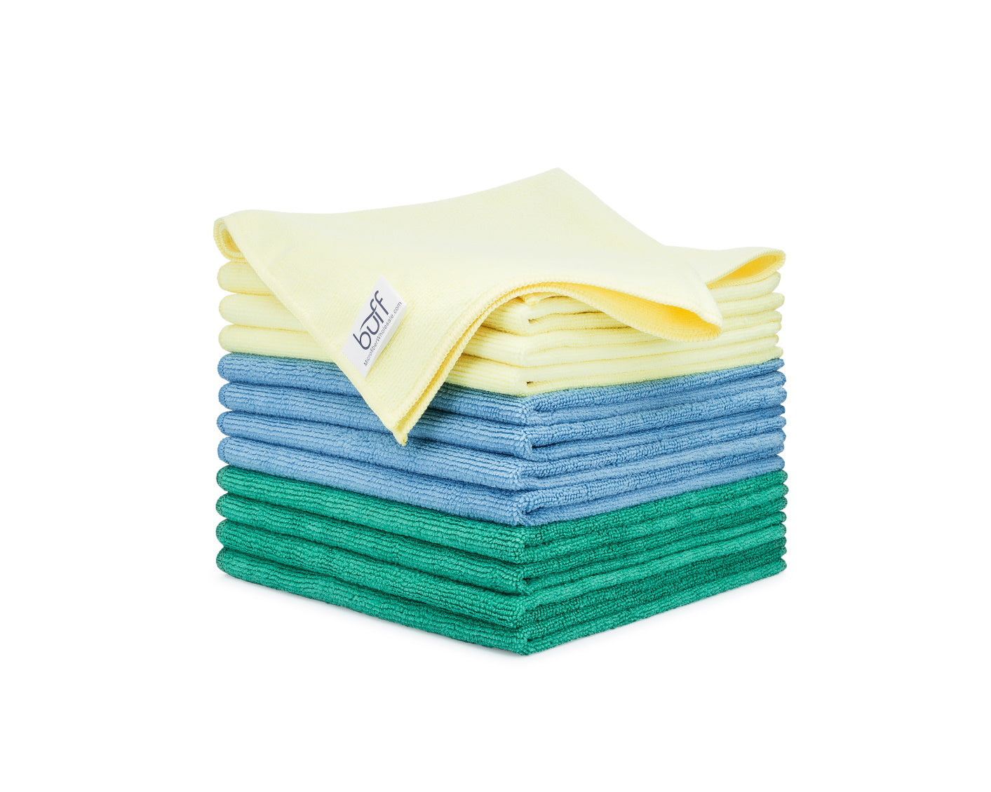 12 Pack, Green Polyte Premium Microfiber Cleaning Cloth 12 x 12 in,