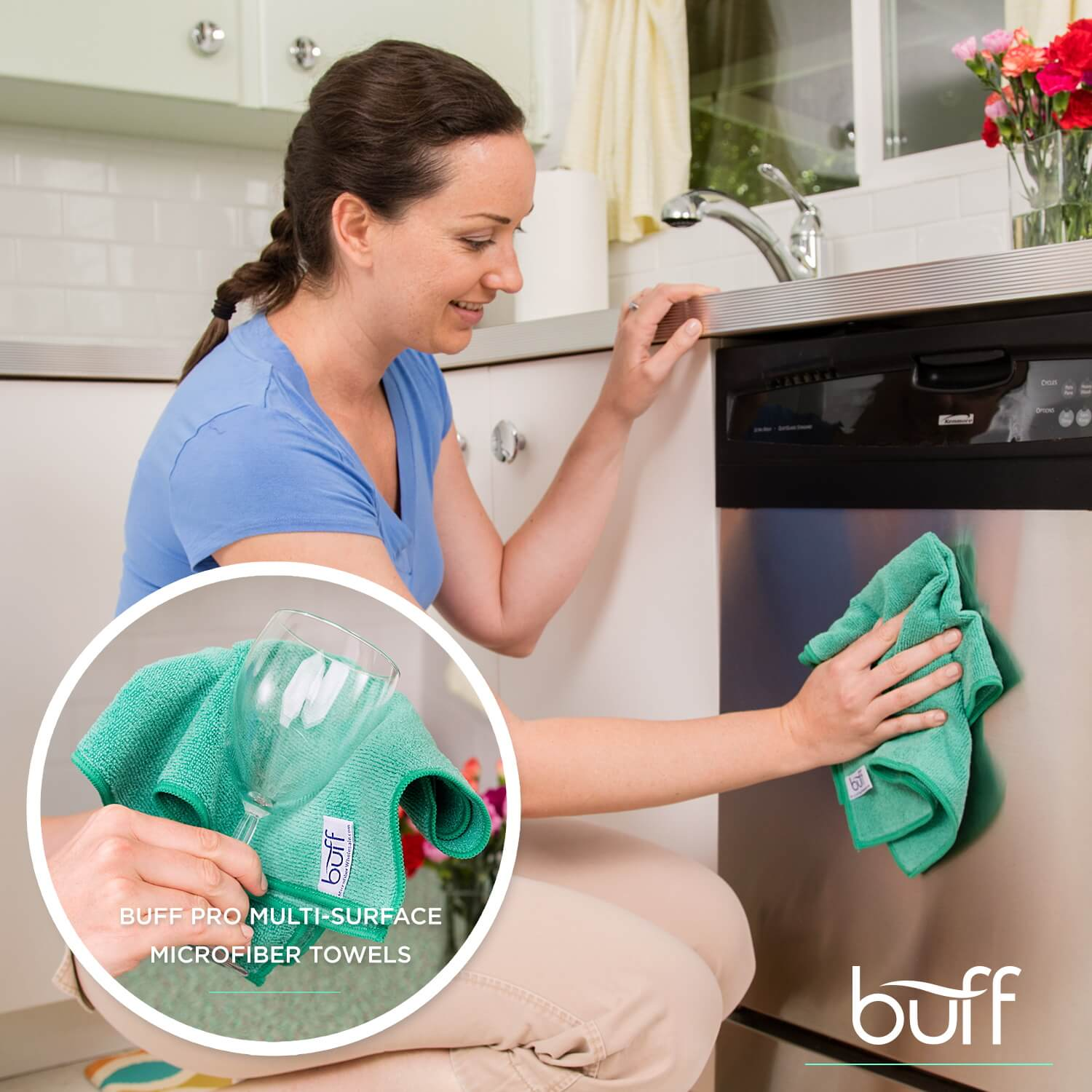 Soft and Absorbent Green Microfiber Towels Clean Any Surface