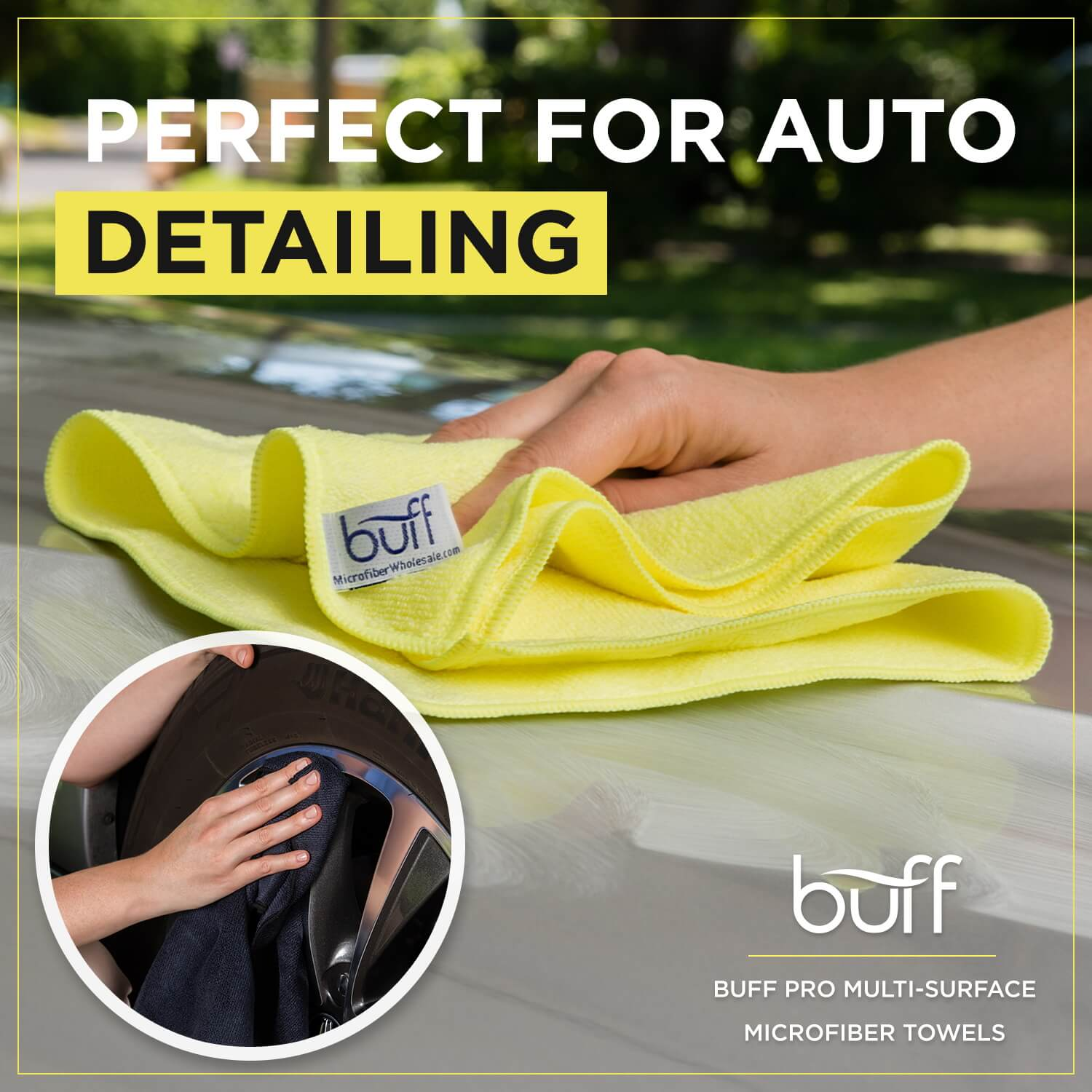 yellow microfiber car cleaning cloth (larger size shown)