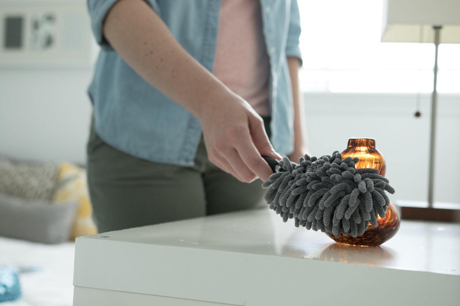 Microfiber Mini Duster Dusts Glassware And Fragile Items On Mantle