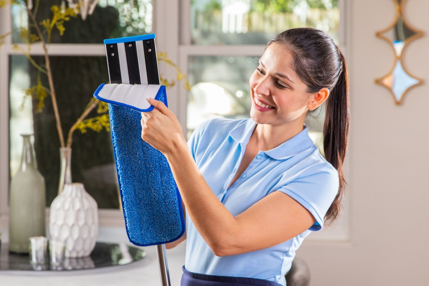 20 Inch Pad Shown-Blue 24 Inch Color Coded Microfiber Wet Mop Pads With Easy Locking hook and loop backing