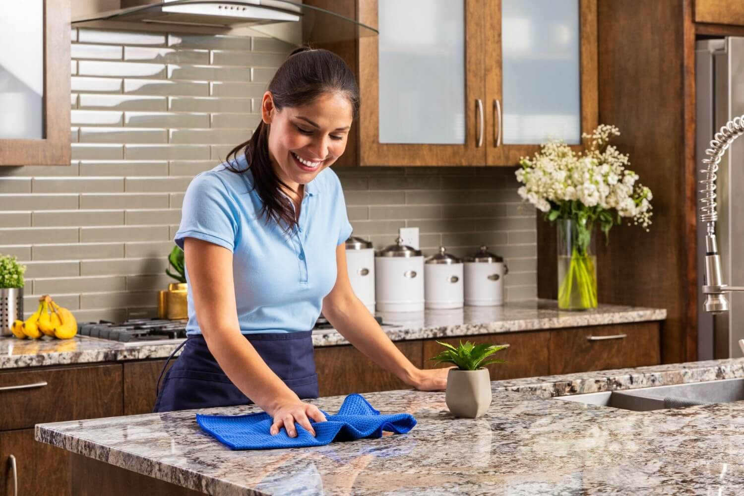 Blue Waffle Weave Microfiber Towels For Kitchen