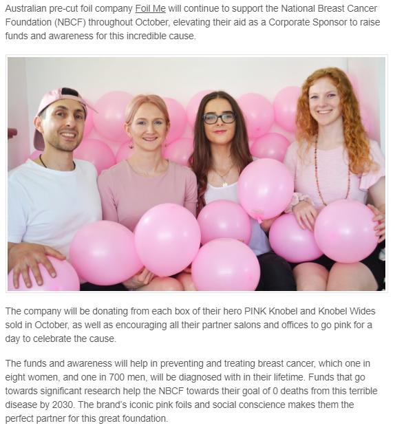 Foil Me Becomes Corporate Partner for Breast Cancer Awareness