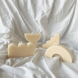 【No Color】Curvy & Wavy Shape Soy Wax Candles │ Kawaii Candle