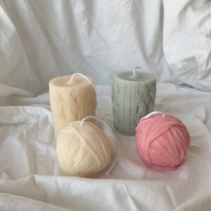 Colorful Yarn Ball Candle & Knitted Candle│ Kawaii Candle