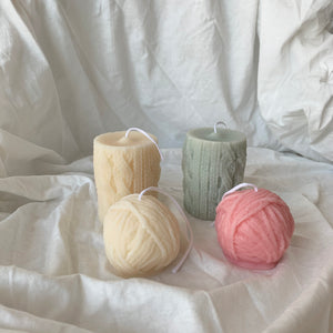 【No Color】Yarn Ball Candle & Knitted Candle│ Kawaii Candle
