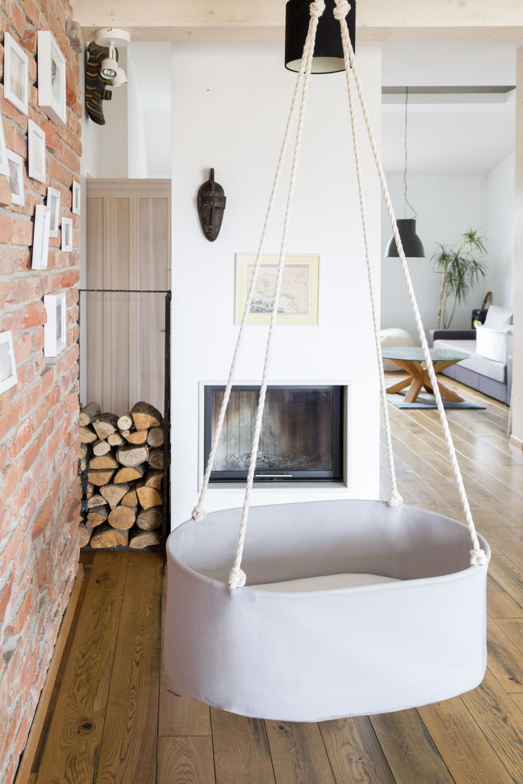 Hanging Baby Cradle | Light Grey