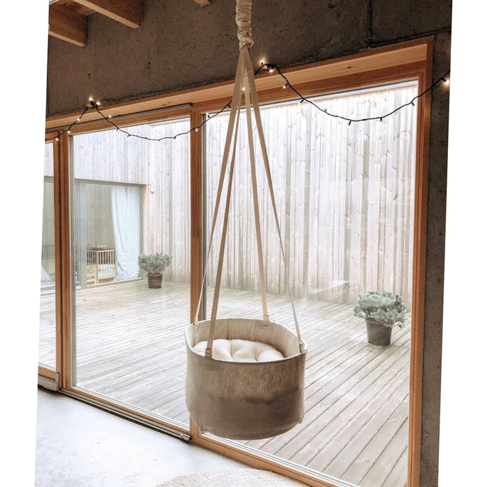 natural linen hanging baby bassinet