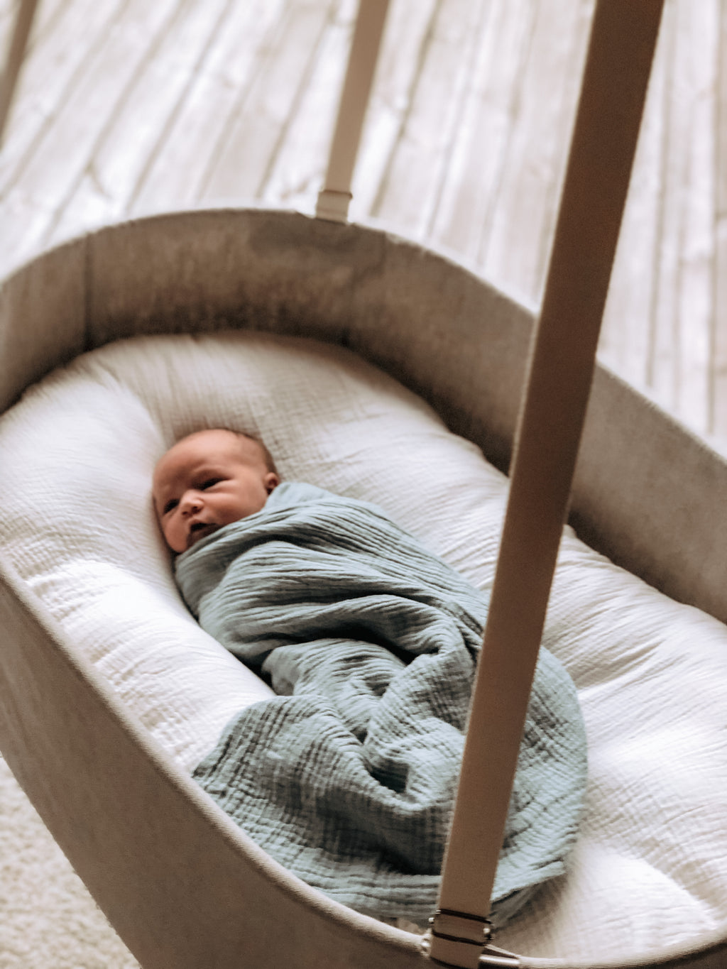 Linen hanging baby bassinet, baby snuggle lounger