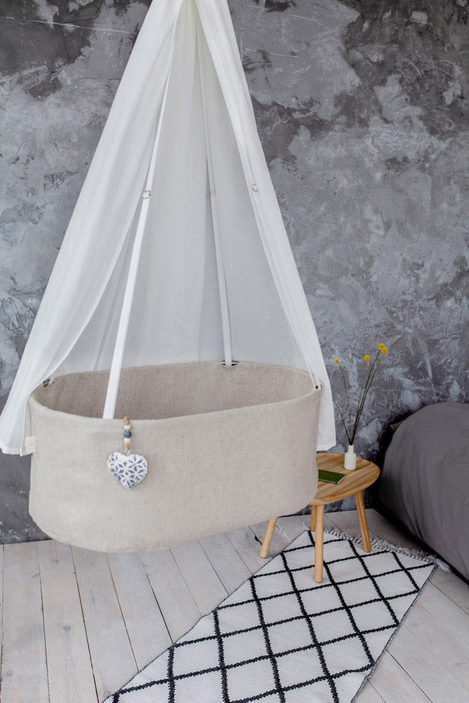 sensory baby bed, hanging linen cradle, swinging cradle,