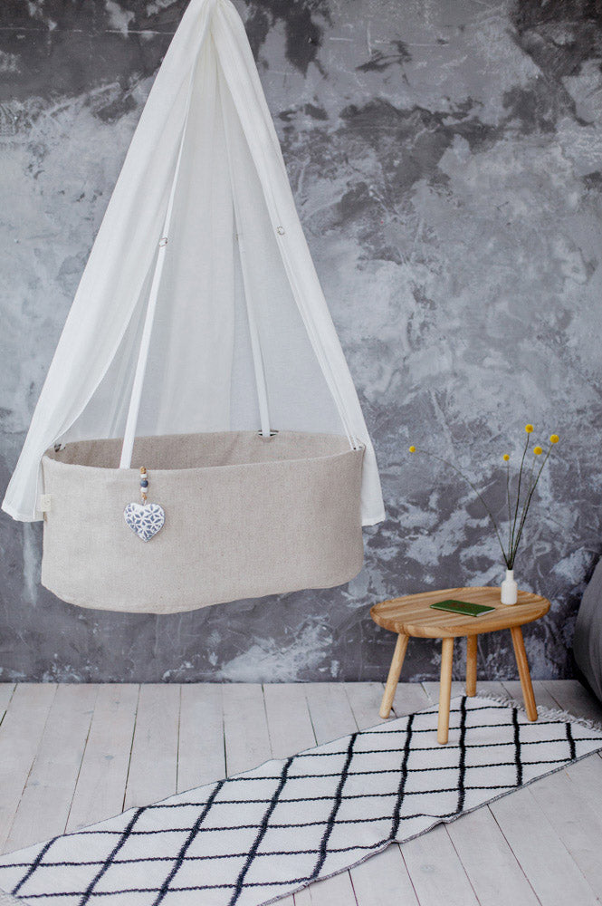 perfect first baby bed, natural baby bed, handmade baby cradle, stylish baby bassinet, stylish baby cradle, first newborn bed, linen baby cradle, linen baby bassinet, baby bassinet with canopy, baby cradle canopy, white linen cradle canopy, white canopy, linen baby canopy, linen baby bassinet canopy