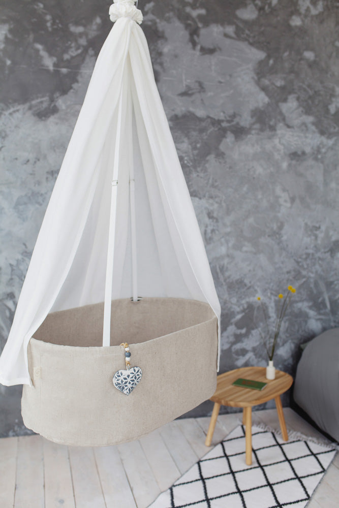 stylish linen baby cradle, stylish hanging cradle, stylish linen hanging baby cradle, stylish bassinet, stylish nursery bed, nursery interior, expecting mother gift