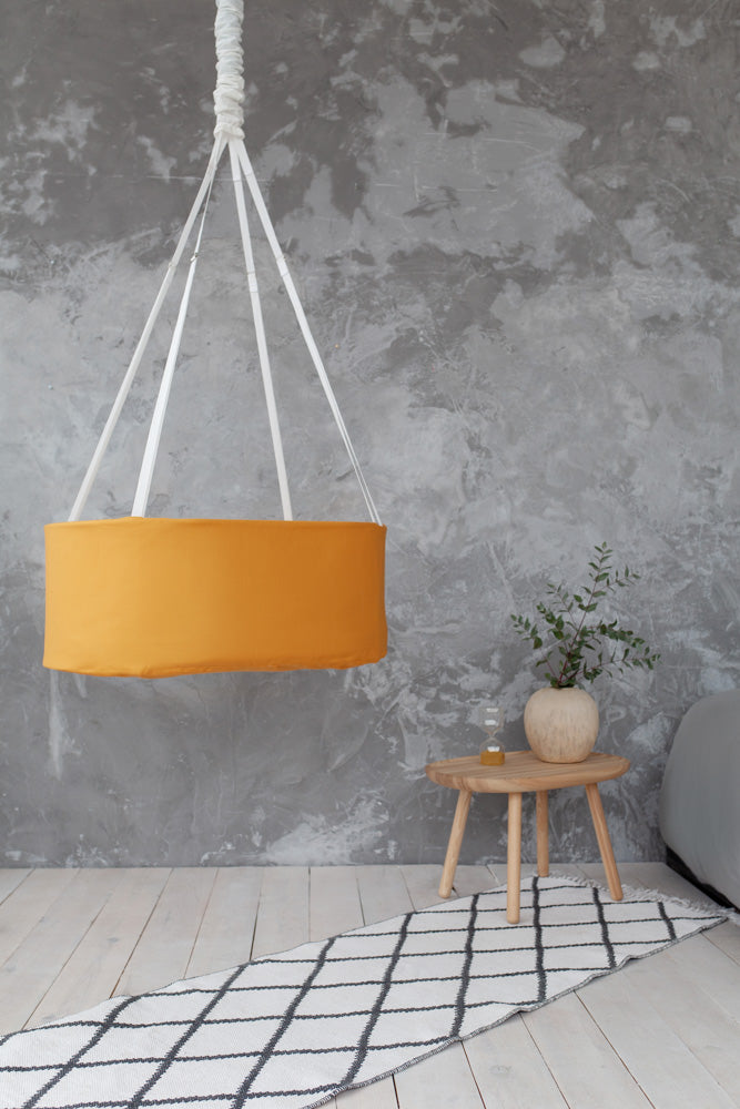 hanging baby cradle with rocking spring, mustard yellow baby cradle
