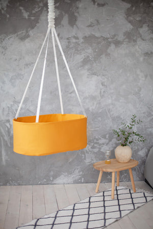 mustard yellow hanging cradle for baby, mustard yellow baby bassinet
