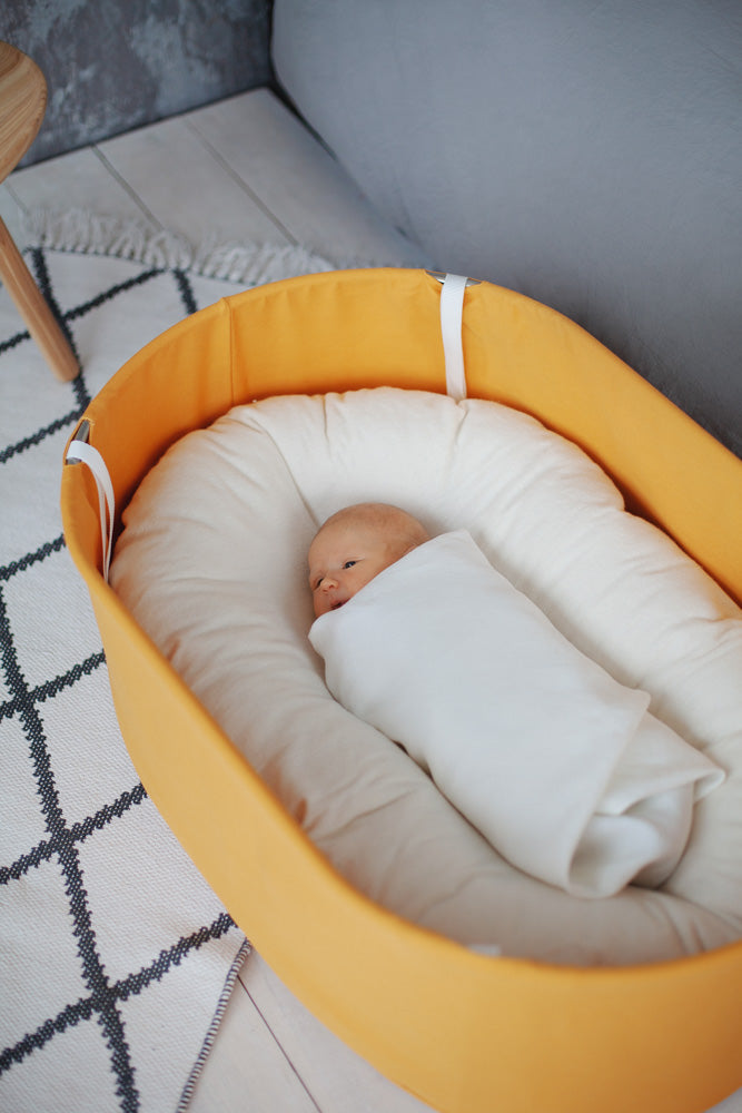 baby bassinet in yellow, sensory baby bassinet, sensory baby cradle, hanging baby cradle, standing baby bassinet, baby bassinet, baby cradle, functional baby cradle,
