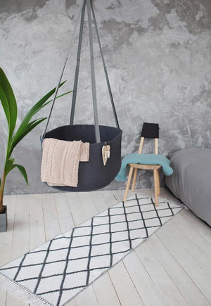 swingy nest hanging baby cradle, baby bassinet, hanging baby bassinet, cotton baby cradle, hanging baby cradle, natural hanging baby cradle, baby sleeping cradle, swinging baby cradle, dark grey cradle, dark grey bassinet, rocking baby cradle