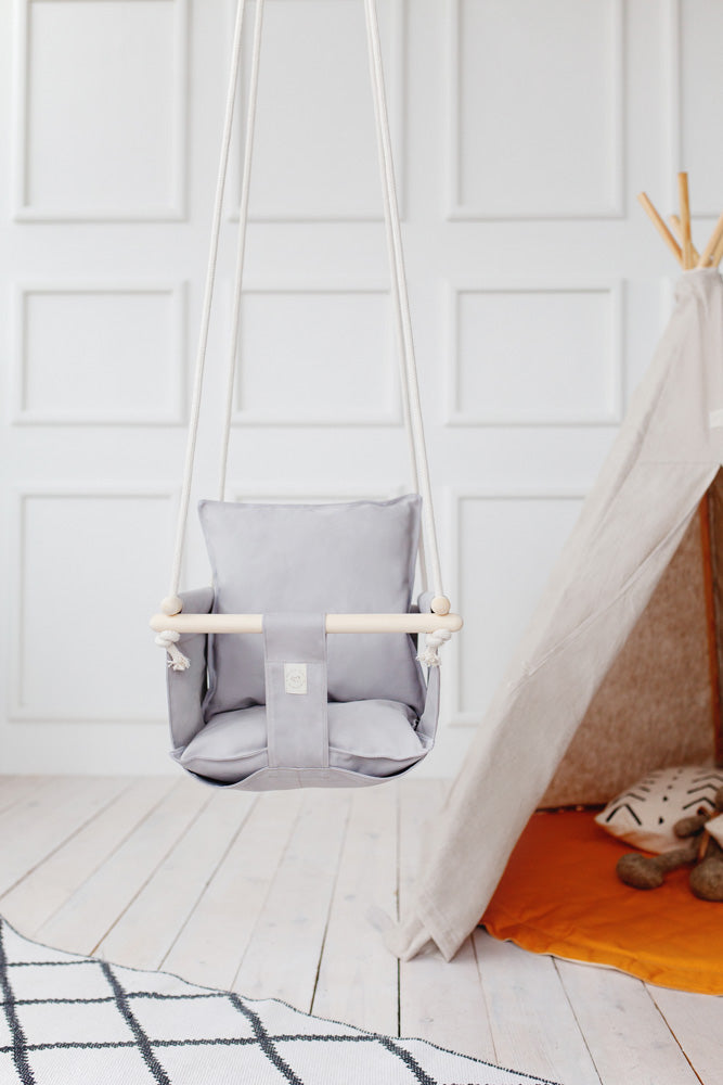 light grey toddler swing