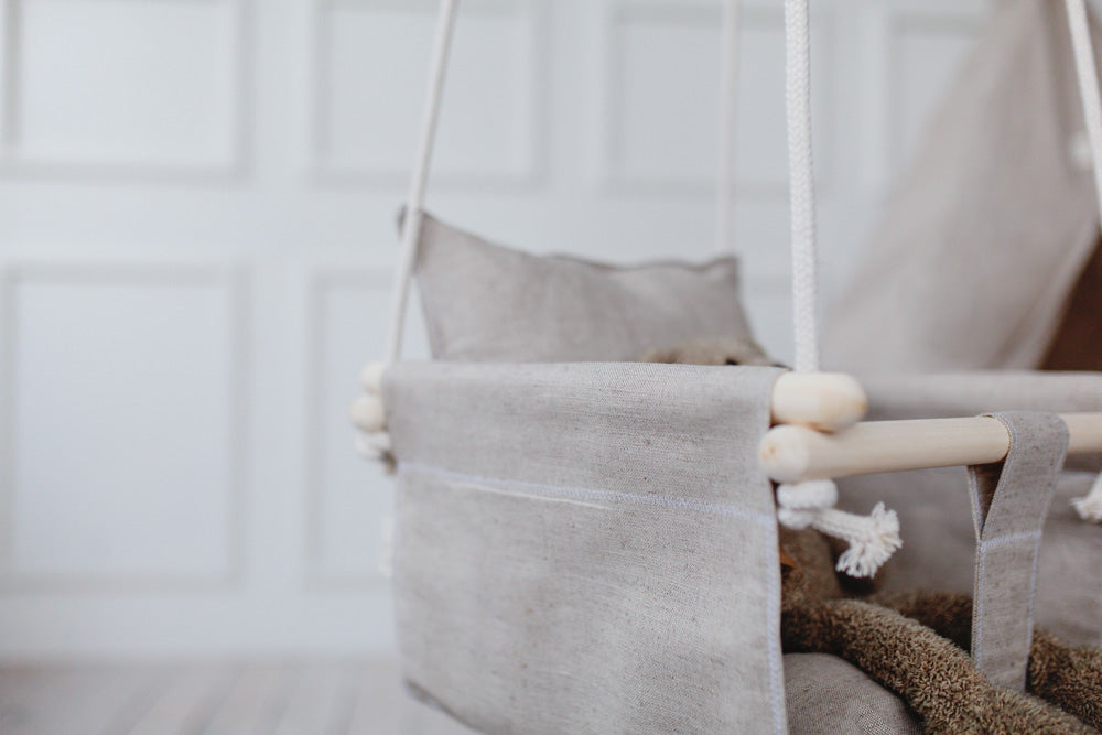linen baby swing, indoor baby swing, outdoor baby swing, indoor toddler swing,, toddler swing, cotton baby swing, natural cotton baby swing, cotton ropes baby swing, toddler swing with support pillows, natural linen swing for toddler
