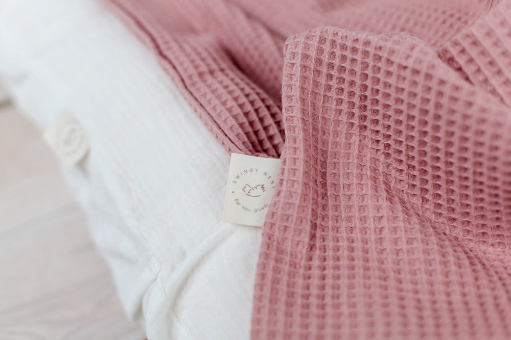 dusty pink cotton baby blanket, waffle knit baby blanket