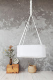 perfect baby bed, first baby bed, hanging cradle, white cotton cradle, stylish baby bed, stylish baby cradle, scandinavian design hanging cradle