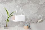 white hanging cradle, first baby bed, hanging rocking cradle, best gift for expecting mother, babyshower gift, newborn bed, hanging rosking cradle