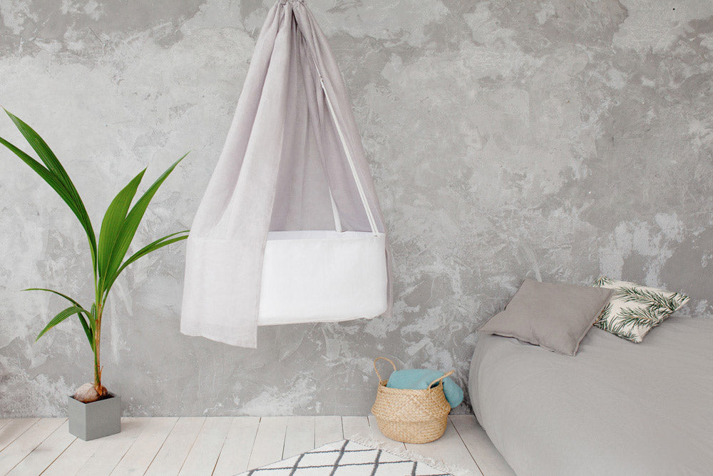white hanging cradle with canopy, light grey linen canopy, white hanging cradle, first baby bed, hanging rocking cradle, best gift for expecting mother, babyshower gift, newborn bed, hanging rocking cradle