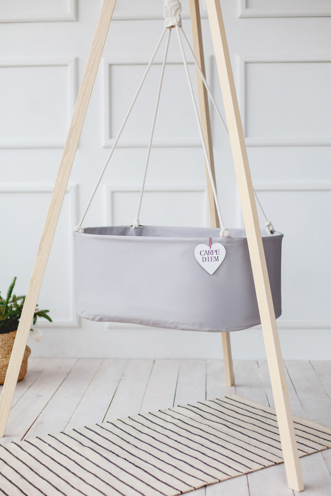 hanging baby cradle with tripod stand, baby cradle stand, hanging cradle with cotton ropes, hanging cradle in light grey cotton, organic cotton bassinet