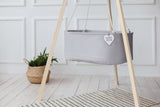 wooden cradle tripod stand, hanging baby cradle with tripod stand, baby cradle stand, hanging cradle with cotton ropes, hanging cradle in light grey cotton, organic cotton bassinet