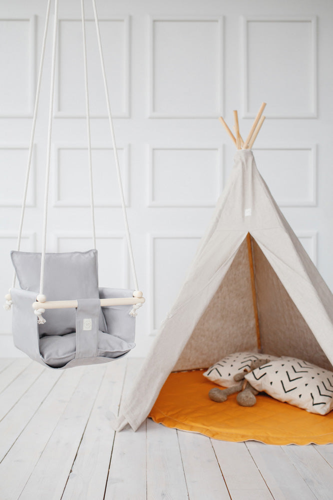 swing with pillows, baby swing, dark grey baby swing, milk baby swing, navy blue baby swing, powder blue baby swing,