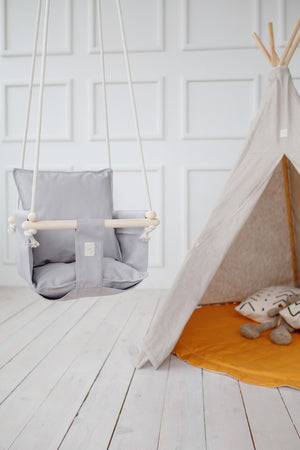 baby swing, indoor baby swing, outdoor baby swing, indoor toddler swing,, toddler swing, cotton baby swing, natural cotton baby swing, cotton ropes baby swing, toddler swing with support pillows, light grey swing for toddler
