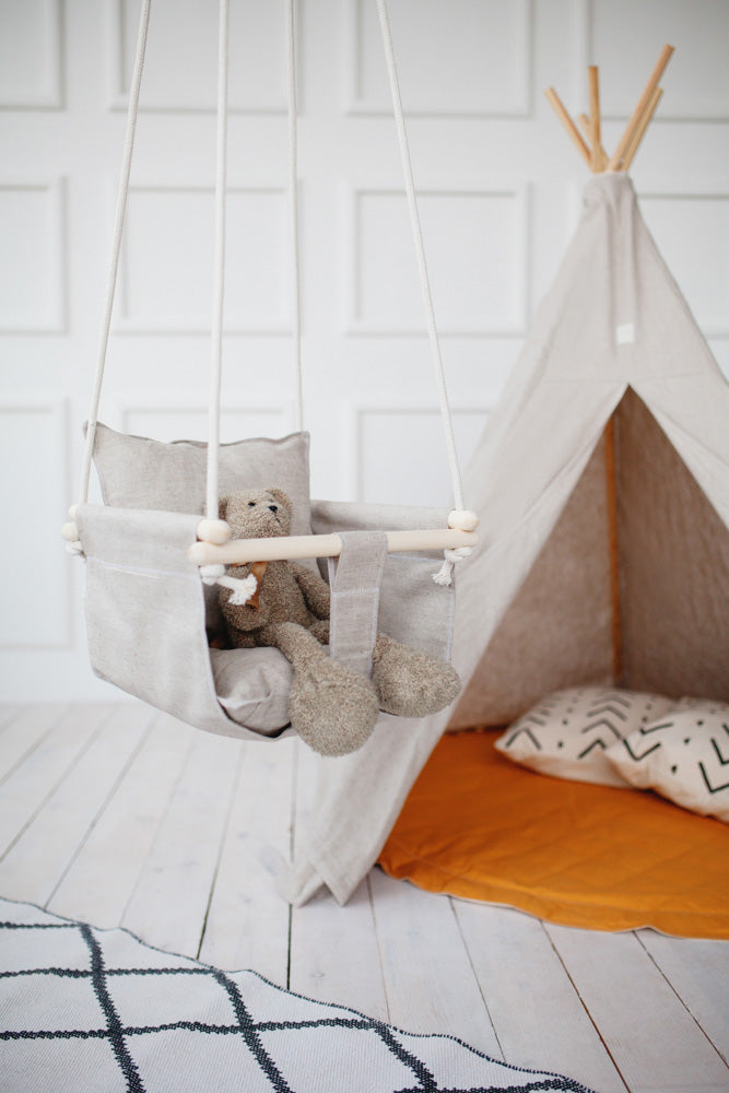 natural linen baby swing, linen swing, linen toddler swing, play tent, toddler teepee tent, play tent with mat