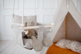 natural linen swing for toddler, natural linen child swing, linen indoor swing, linen terrace swing