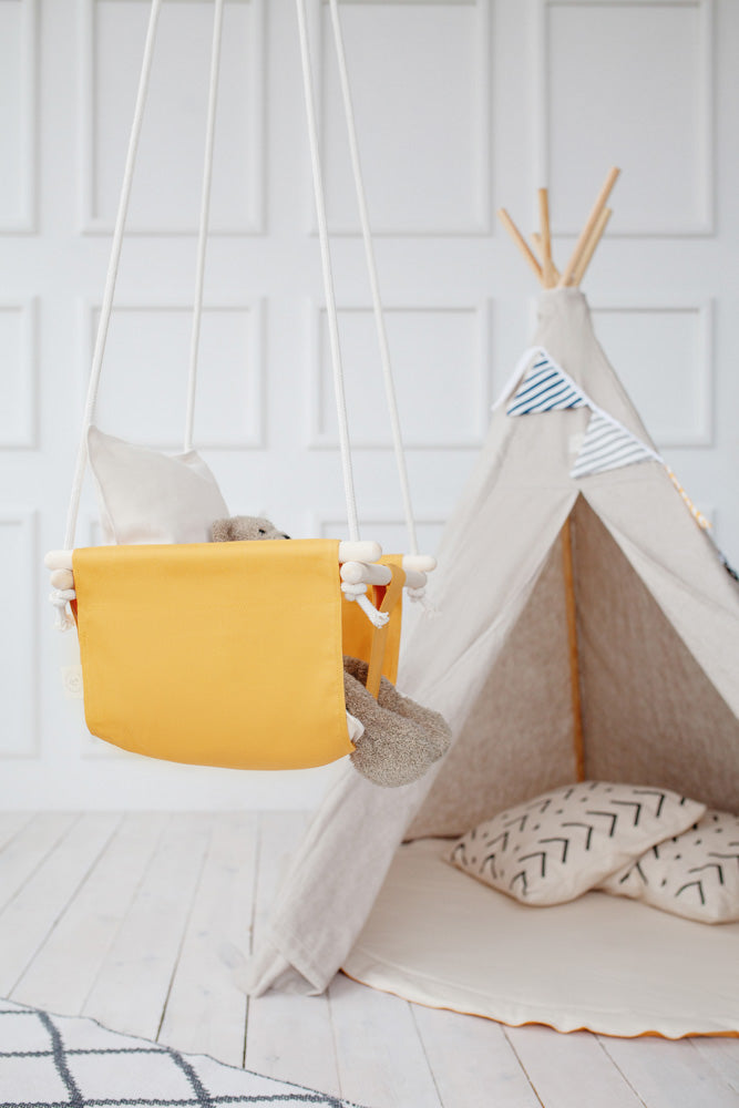 mustard yellow swing, honey colour indoor swing, baby swing, cotton baby swing, cotton kid swing, indoor cotton swing