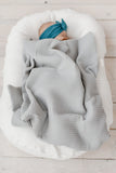 Baby blanket in soft waffle knit | Light grey