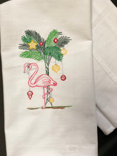 Load image into Gallery viewer, Festive Flamingo with Palm Tree