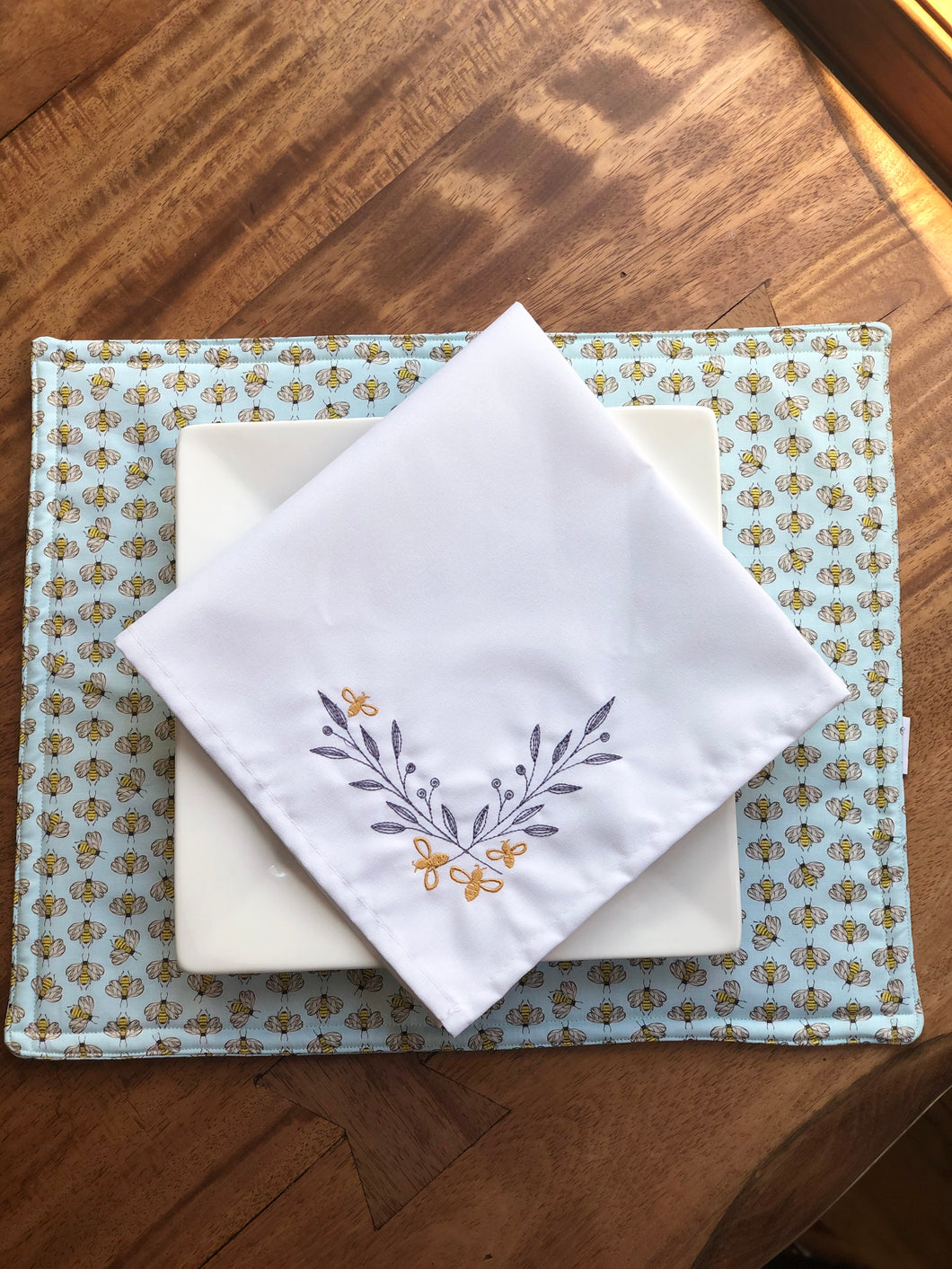 Embroidered Bumblebee Gold with Leaves Napkins - Set of Two