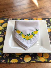 Load image into Gallery viewer, Embroidered Lemons with Leaves Napkins - Set of Two