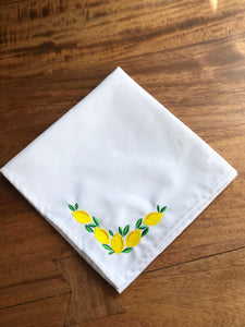 Embroidered Lemons with Leaves Napkins - Set of Two