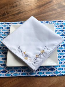 Embroidered Coastal Beach Seashell Napkins - Set of Two