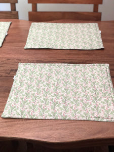 Holly Leaves Holiday Christmas Placemats - Reversible
