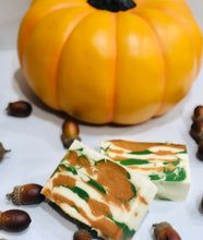 Load image into Gallery viewer, Handmade Pumpkin Brown Sugar Small Batch Soap in Orange, Green and White